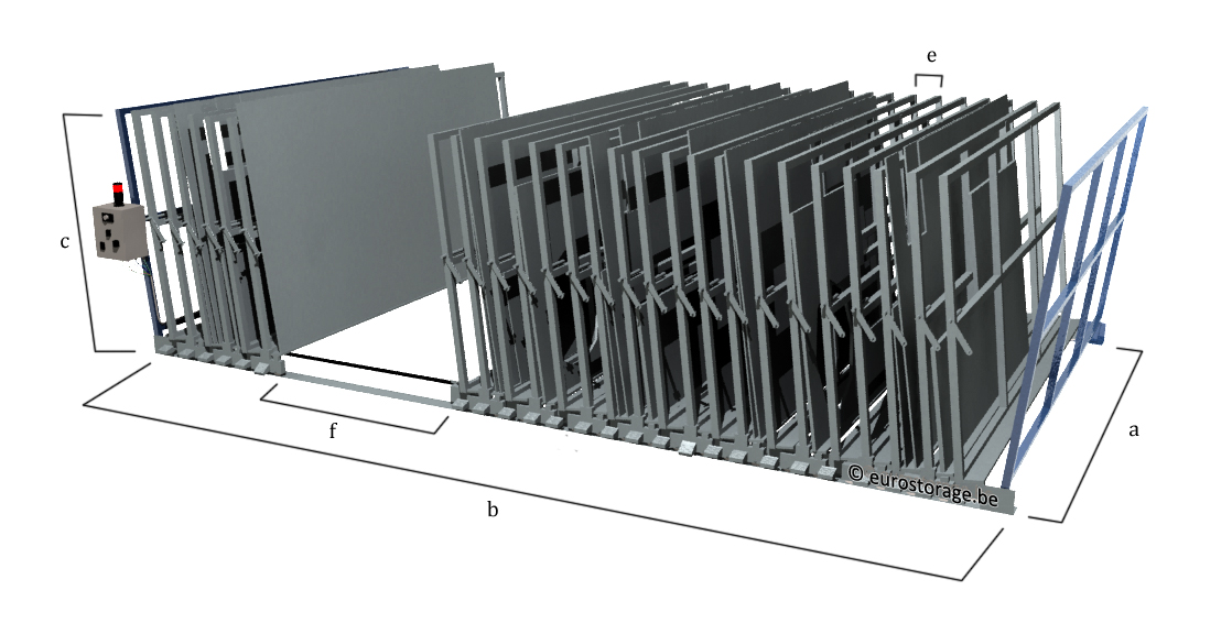 Dimensions of the electrical mobile frame rack