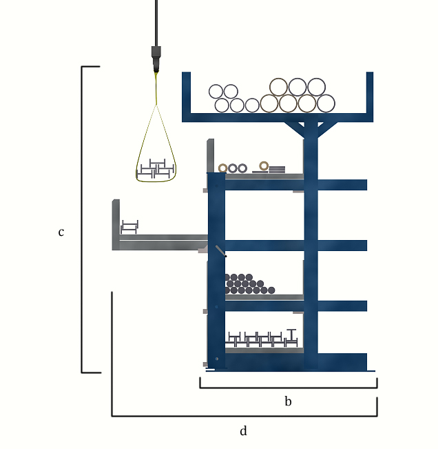 Dimensions of the roll out cantilever rack