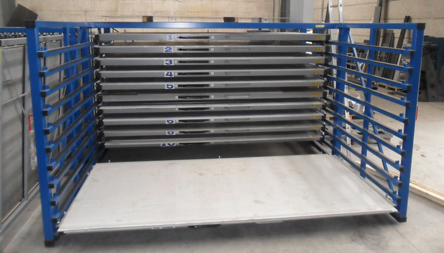 Metal sheet rack horizontal 1