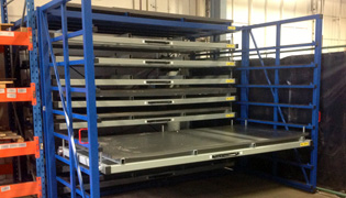 Metal sheet rack horizontal for storing sheet metal