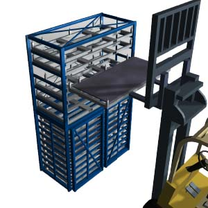 Metal sheet warehouse rack: handling